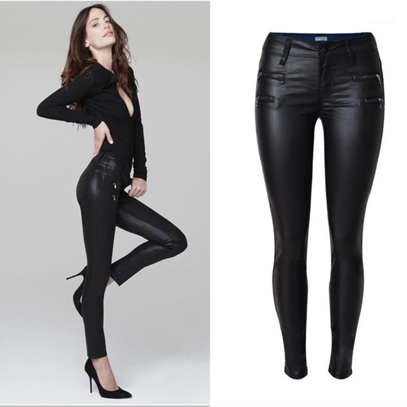 Оптово-мода тощий хлопок карандаш брюки женские брюки капризы вскользь дамы низкая талия женские джинсовые джинсы кожаные брюки панталон1