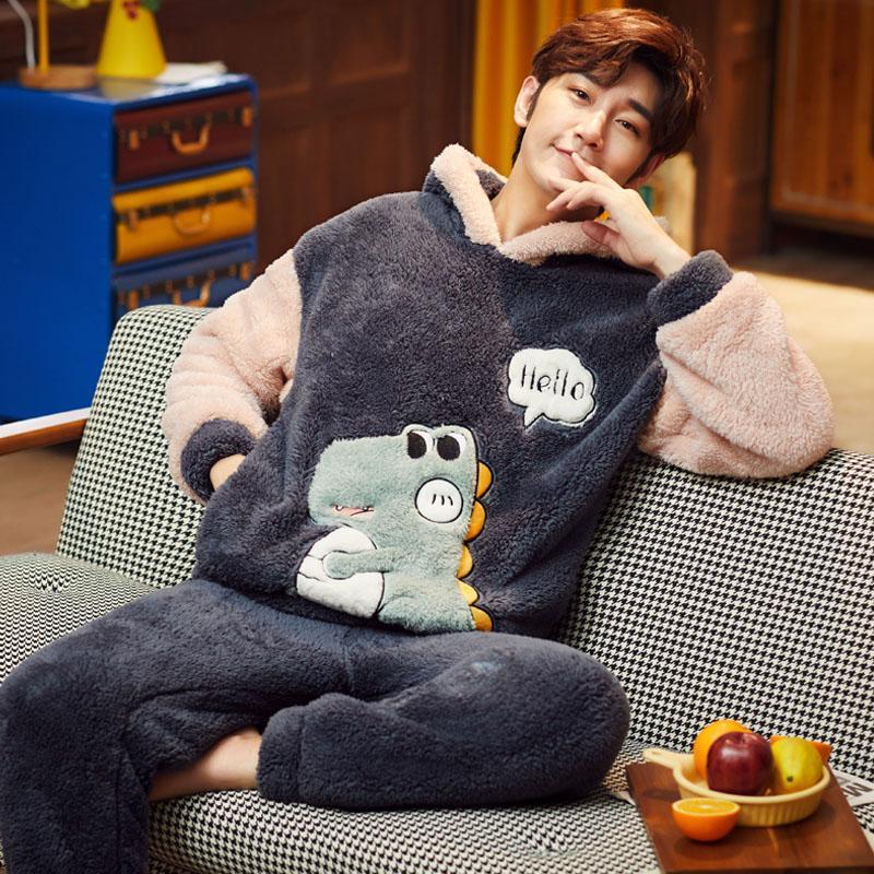 Плюс размер S-4XL 6XLsleepwear женщин мультфильм ватки салон набор фланель Пижама наборы зимние мужчины толстые теплые большие Sleepwears