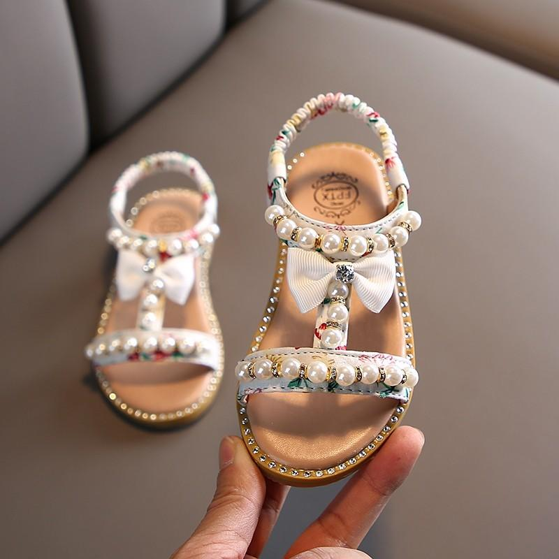 Verano muchachas del estilo sandalias de los niños del niño de los niños niñas sandalias de playa linda de los zapatos del arco princesa de las muchachas de 1-8 años de las zapatillas de deporte 1007