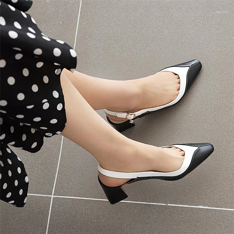 2020 Back Strap Mulheres Sandálias Sapatos de Verão Sapatos Pontos de Tee Chunky Med Heels Party Dress Sapatos Deslize em Sandálias Novas chegadas Elegant1