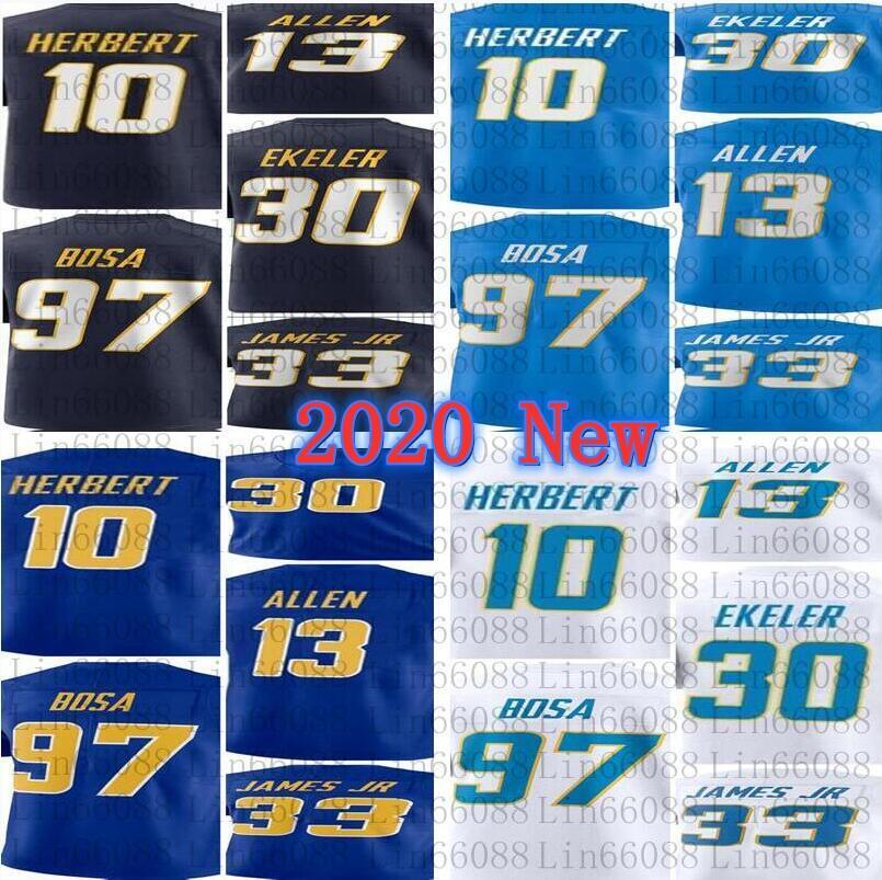 2020 Новые Мужчины 10 Джастин Герберт 97 Джои Боша Кинэн Аллен 33 Дервин Джеймс JR 30 Austin Ekeler Jersey
