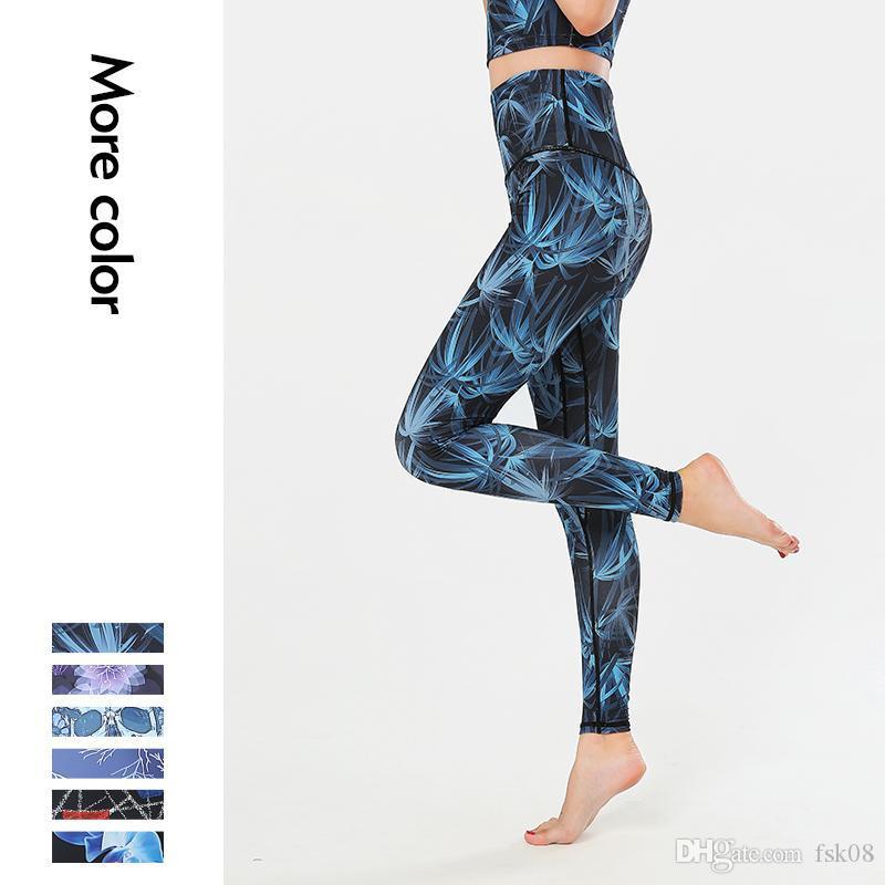 Kadınlar için Spor Pantolon Fitness Seksi Spor Salonu Tayt Egzersiz Koşu Tayt Yüksek Bel Baskı Yoga Pantolon Spor XL DLJRU