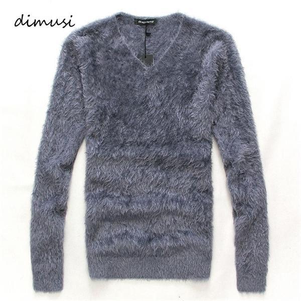 DIMUSI hiver Hommes Pull Pull Casual Solid V-Neck Shirt à col roulé Pulls Hommes Slim Fit laine tricotée à long overs Vêtements C1021