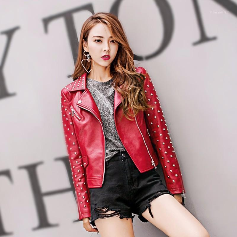 Motocicleta Mujeres PU Chaqueta de cuero Bordado Fashion Remaches Faux Cuero Abrigo Corto Slim Fit Casual Alta Calidad Jacket de otoño1