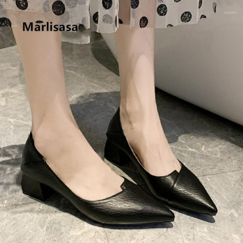Marlisasa mulheres moda clássico apontado ote preto pu couro sapatos de salto alto senhoras casuais bombas amarelas szpilki damskie h55591