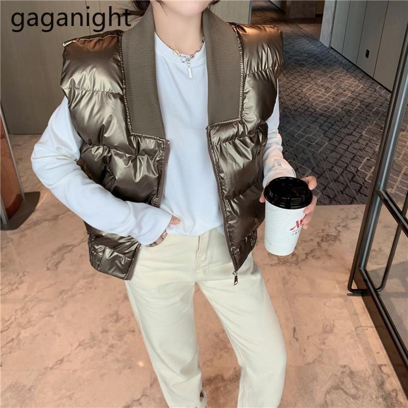 Gaganight outono winte mulheres colete quente sem mangas colhido colhido Sólido meninas soltas vestes chique Coreano Outwear tanque camis moda vestes