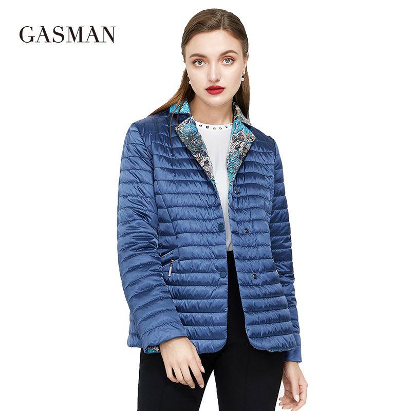 GASMAN Solid cotton Slim short jackets for Women winter jacket zipper parka Hooded down jacket Female autumn casual puffer coats 210203
