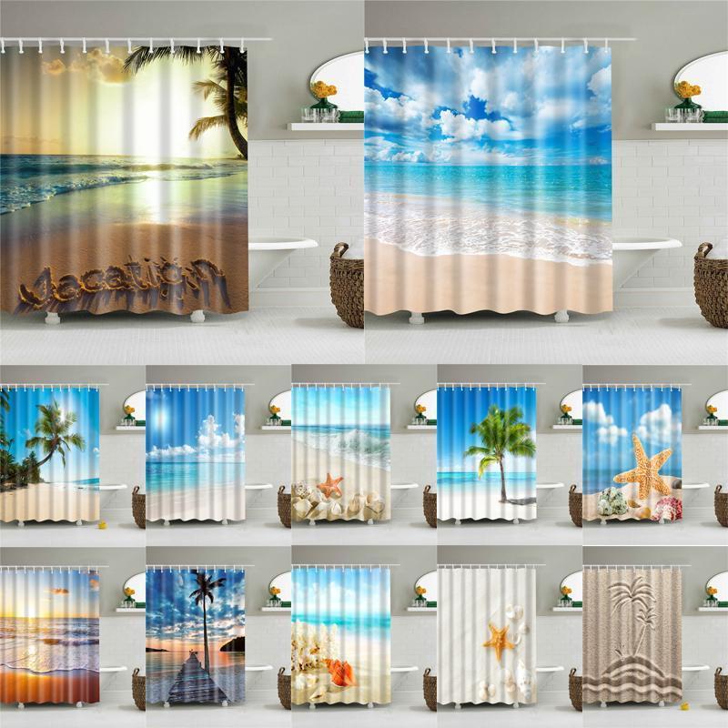 Sea Beach Duş Perdeleri Shell Baskılı Banyo Ekran Su geçirmez ürünler Dekorasyon Banyo Polyester Dekor ile Kancalar