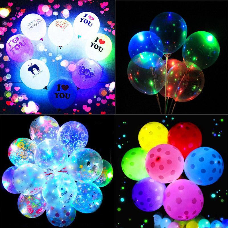 Día de San Valentín Los amantes de los globos luminosos LED Transparent LED BOBO Ball Ball Balls para Navidad Año Nuevo Brithday Decoración de la fiesta de bodas E121803