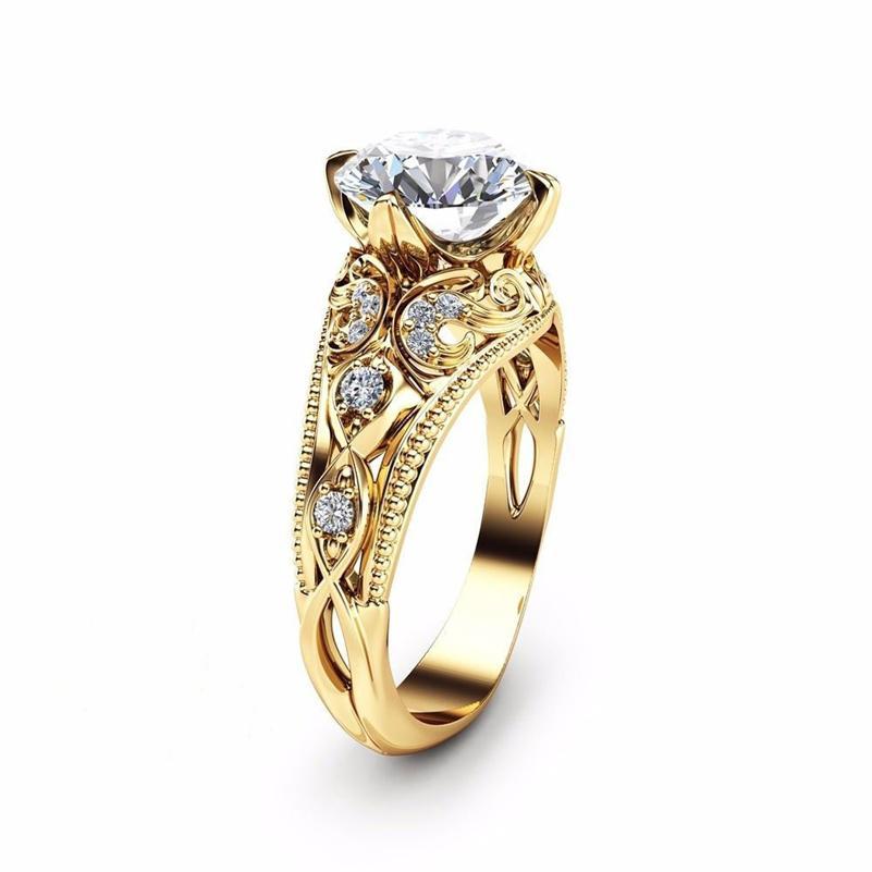 14K amarelo ouro anéis de diamante para as Mulheres Anéis de casamento Jóias Gemstone bijoux femme jóias biżuteria anéis de noivado homme 201112