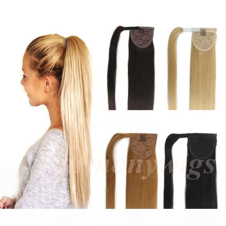 Высокое качество 100% человеческие волосы хвост 20 22 дюйма 100 г двойной нарисованные бразильские малайзийские индийские наращивания волос больше цветов по желанию