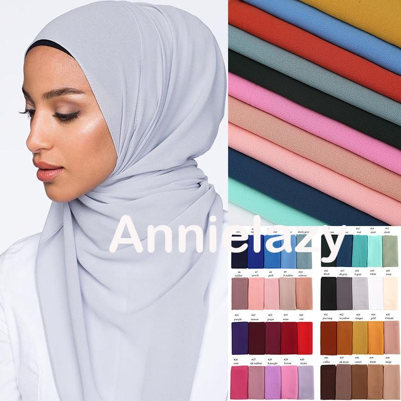 10pcs / lot Plain Blase Chiffon Hijab-Schal Frauen Muslim weichen langen Schals und Wraps Kopf Schals Foulard Femme Turbanet Bandanas