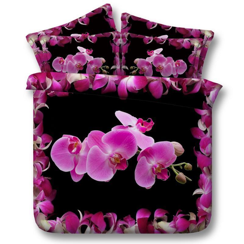 Livraison gratuite 3D Coton Butterfly Moth Orchid 5pcs Twin / Full / Queen / King / Super King Size Literie Set avec remplissage Textile Home Textile