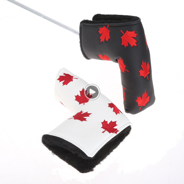 U5WH Canada Drapeau de golf Putter Head er Maple Leaf Golf er en cuir PU Golf Lame en-tête