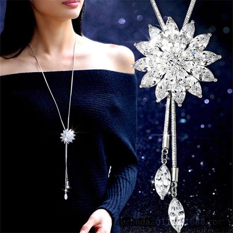 Колье цепи для женщин Цепь Smalll цветок ожерелье на шею Bohemian свитер женщин оптовой продажи ювелирных изделий