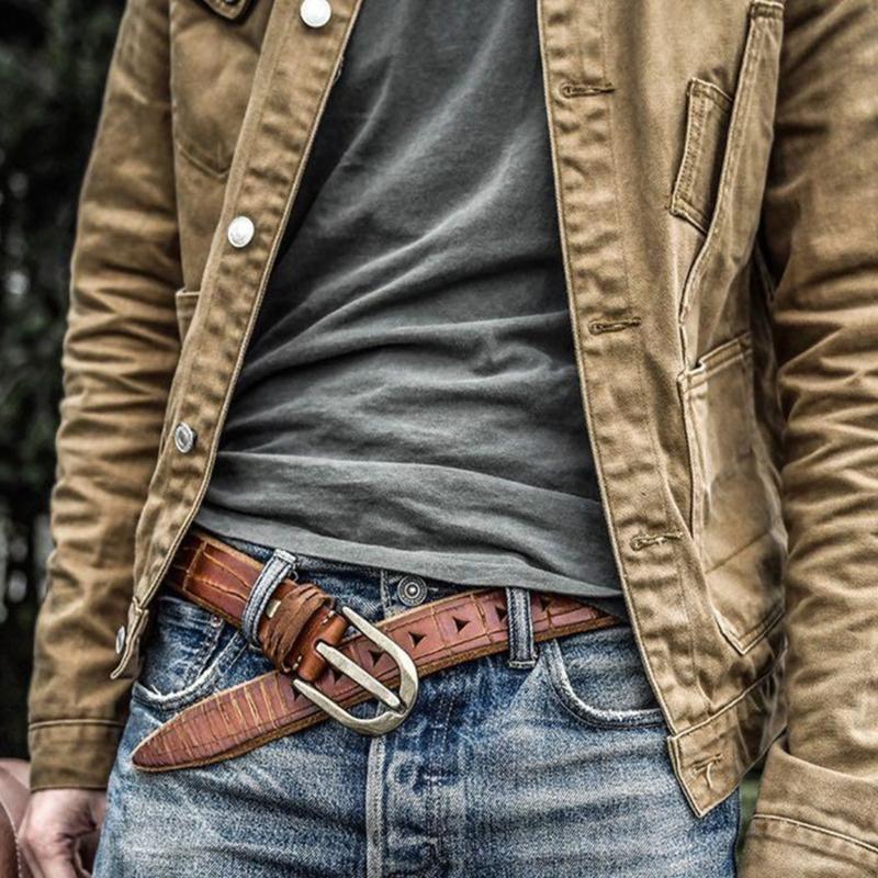 agulha artesanal dos homens fivela de cobre puro cinto de couro na moda novo cinto velho jeans de couro genuíno personalizado