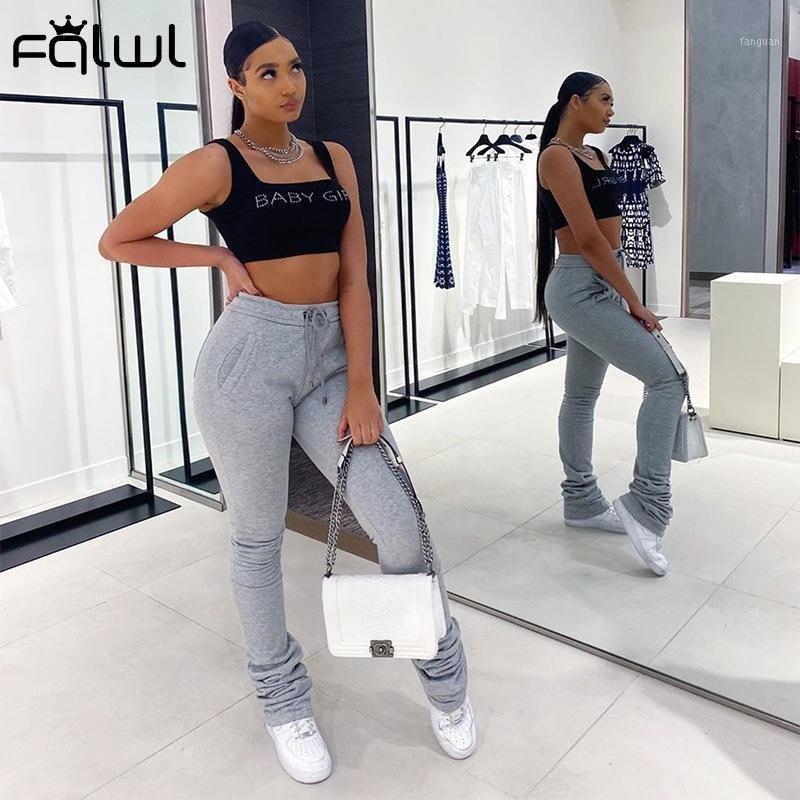 FQLWL Sweetpants Joogs Mujeres Streetwear Pantalones apilados Female Bodycon Harajuku Cintura alta Pantalones negros Mujeres Mujeres Pantalones1
