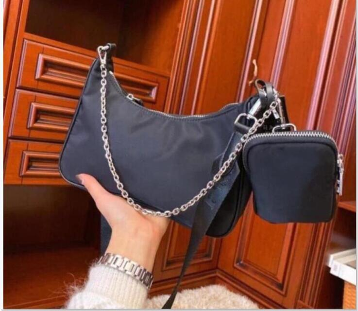 Высокое качество женщин 2pcs / комплект Size24CM плечо мешок водонепроницаемый холст нейлон Chest пакет леди тотализатор Цепи сумочек кошелек мессенджер Кроссбоди сумка