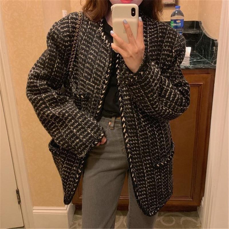 Новые женские длинные рукава Твид пальто в осенью и зимой 2021