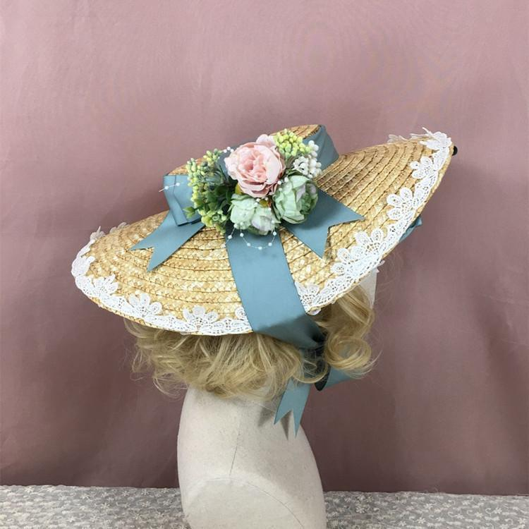 Party Multi Color Lolita Strohhut Flache Hut Bonnet Handgemachtes Mori-Mädchen Wunderschöne elegante Prinzessin Multi Layer Blume