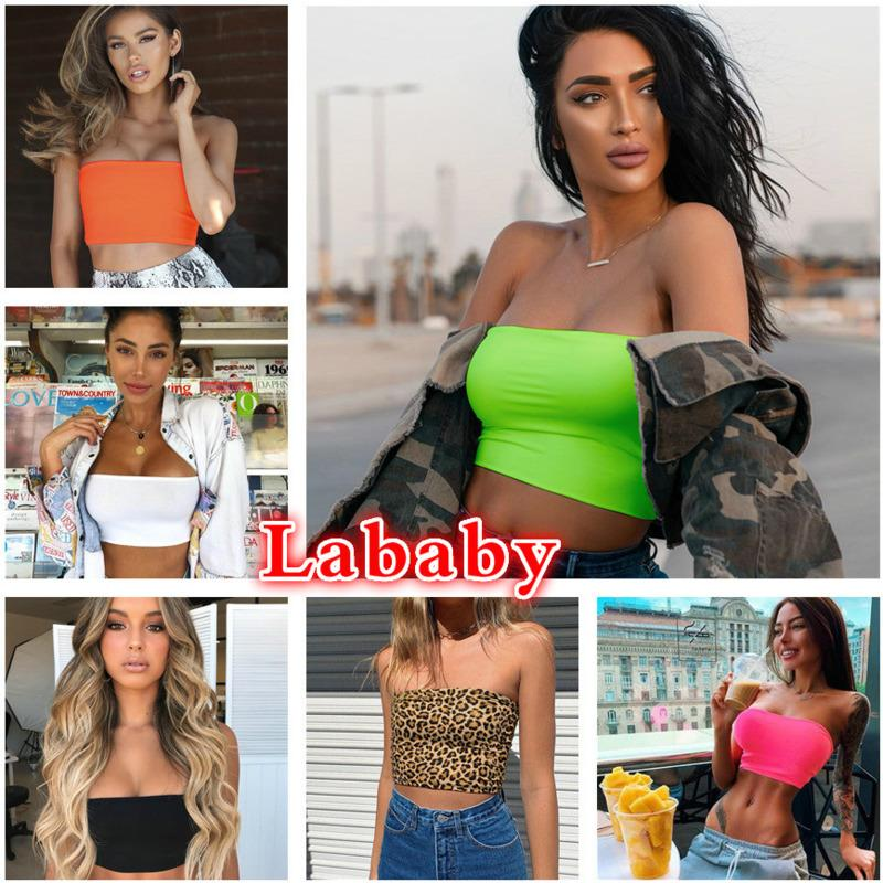 Women Crop Designer 2021 New Sexy Slim High Elastic Bra Open Shoulder And Navel Straight Tube Bottom Shirt In Spring