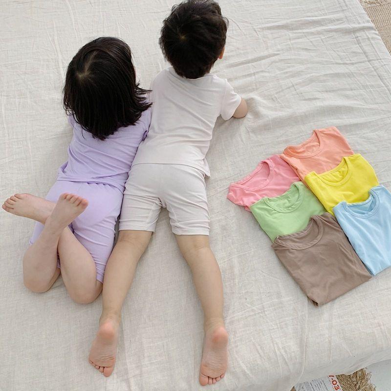 Verão crianças cor sólida algodão pijama conjuntos meninos meninas macio casual lazer desgaste crianças de manga curta roupas conjuntos lj201016