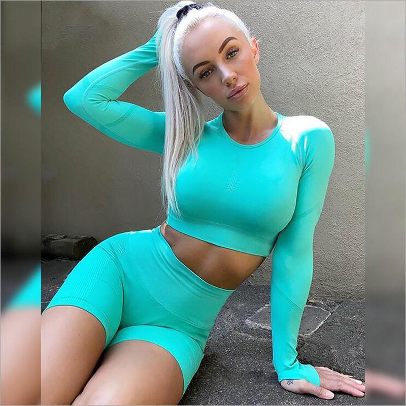Seamless solido del manicotto di colore Set Yoga di fitness vita alta Shorts lungo donne che gestiscono sportivo palestra copre i vestiti di allenamento