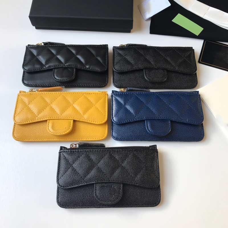 Nuevo diseñador de moda para hombre y billetera para mujer Titular de la tarjeta de crédito Cowhide ultra-fino cremallera Bolsa de billetera Versión clásica de alta calidad