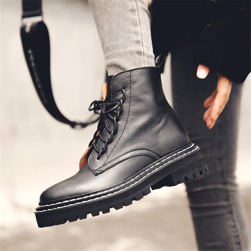 Bottes d'hiver avec fermeture à glissière à bout rond dentelle à lacets de talon chunky chaussures de plate-forme de vachette en cuir de vachette Bottes confortables No.H24a