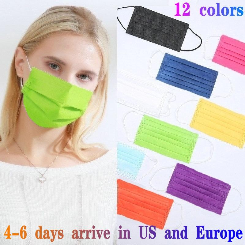 12 cores descartável Fashion Designer Máscaras 50PCS pacote de varejo não-tecidos adultos e crianças Máscara anti-poeira 3 camada mascarilla mascherina