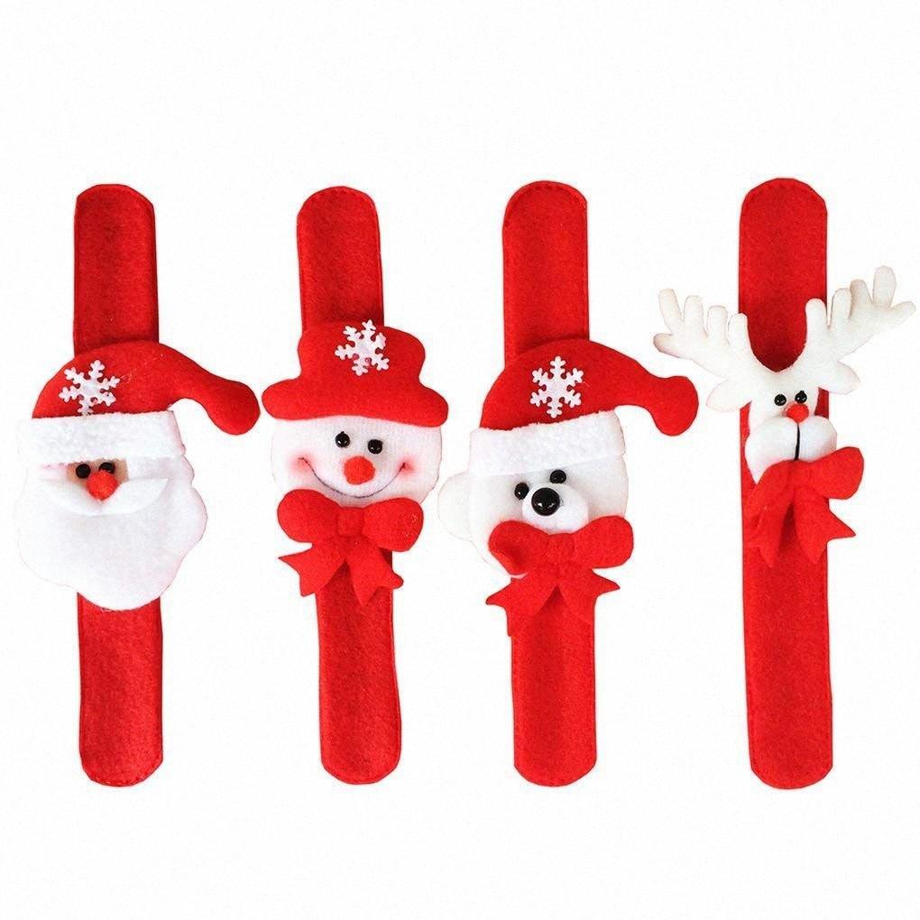 4pcs Christmas Wristband Bracelet Slap Wrist Bands Xmas Party Favors Bag Fillers Gifts for Kids (4pcs (Santa Claus,Snowman,Reind vML6#