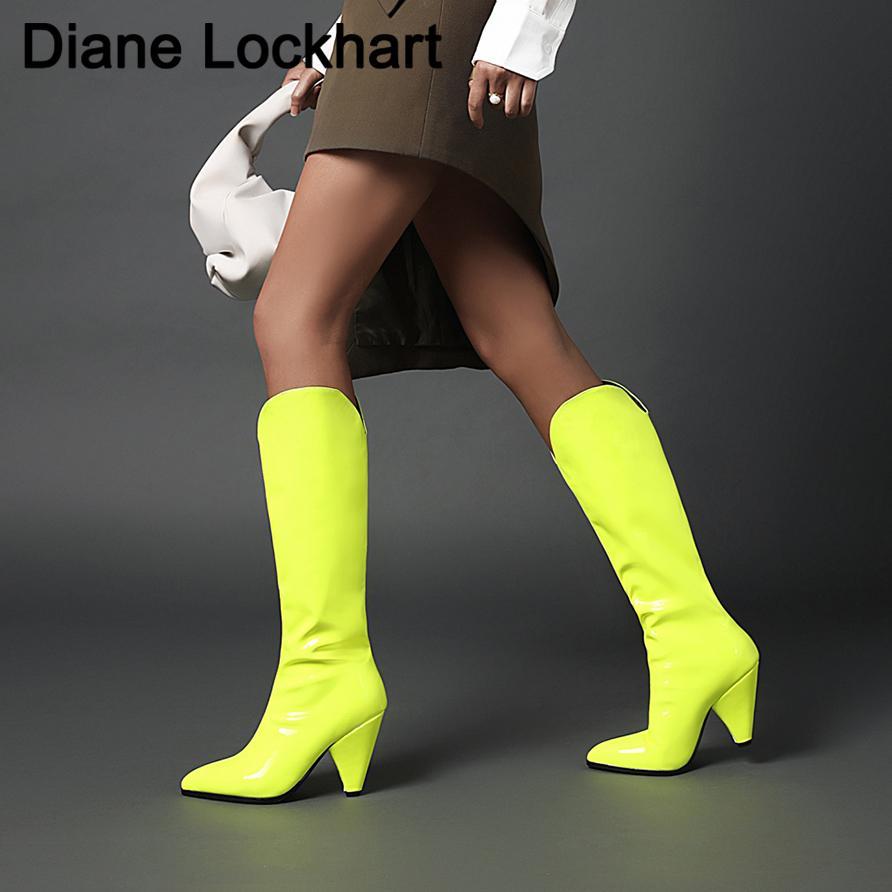 Outono Inverno Nova Joelho Botas Moda Slip On Mulheres Liso Botas dedo do pé Pointed Botas cônicos Salto Botas Mulher Sapatos 31 32