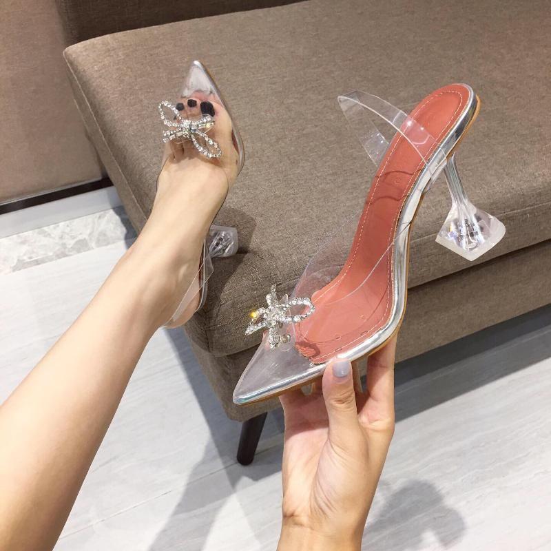 Verão Novos Sapatos Femininos Apontados Transparente Sexy Curva Sandálias De Cristal De Forma De Alto Salto alto tamanho 35-41