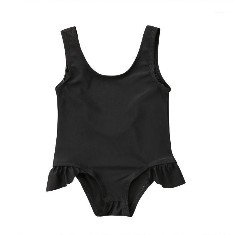 Новорожденный малыш дети дети девочка летний купальник без рукавов твердые черные купальники плавание купальный костюм один частей 0-3Y1
