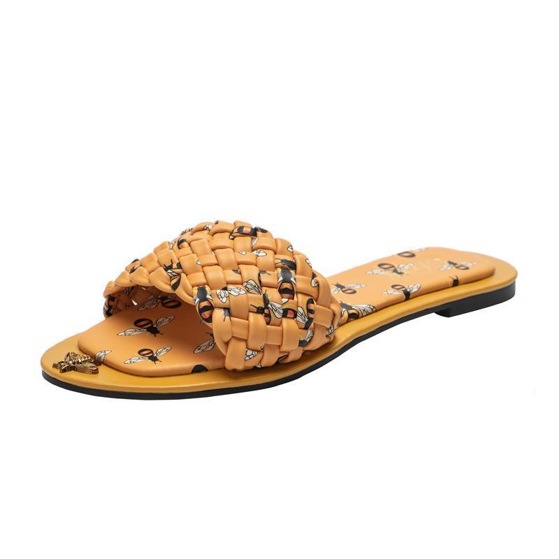 2021 дизайн дамы тапочки пчелы печать дам сандалии удобные флипы плюс плюс размер 42 крытые наружные туфли