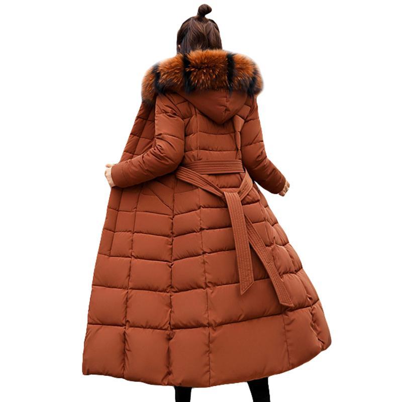 Мода Зимняя куртка женщин большой меховой пояс с капюшоном Толстые вниз ветровки X-Long Женский жакет Тонкий теплая зима Outwear 201006