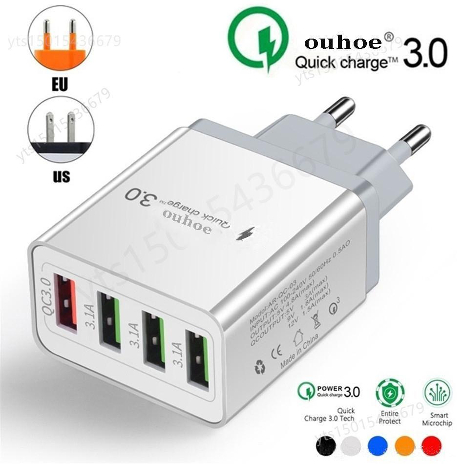 Wallade QC 3.0 Fast Charger 4 Ports USB-Wandladegerät Adapter OEM EU / US / UK-Stecker für Smartphone Android und iOS Samsung S10