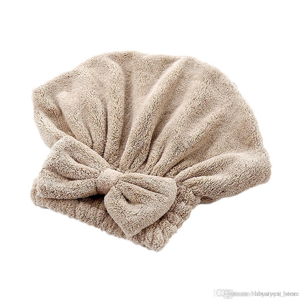 Solidna prysznic czapki owinięty ręcznik mikrofibry Kapelusze Łazienka Bow Szybki Suchy Kapelusz Włosy Kobiety Dziewczyny Lady Suche Włosy Kapituła