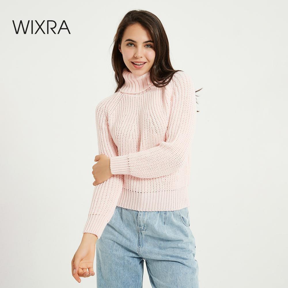 Wixra Chunky maglione dolcevita donne di autunno inverno Solid Alta stirata a maglia Pullover Jumpers allentate Maglioni 201016