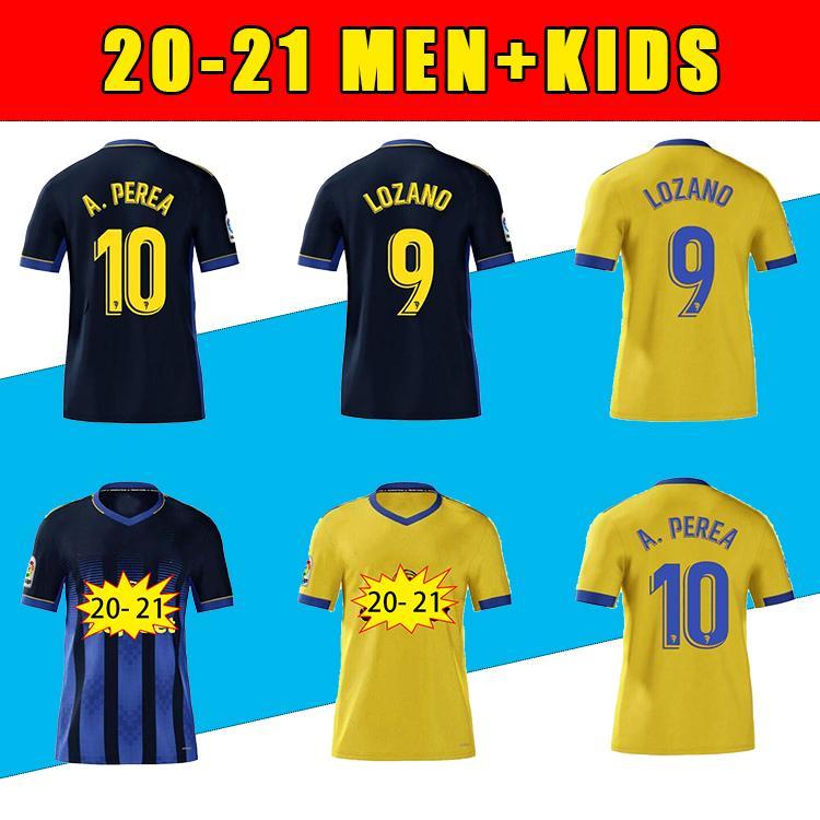 2021 Top Cadiz Futebol Jerseys Cádiz CF Camisetas de Fútbol 2020 Lozano Alex Bodiger Juan Cala Camiseta La Liga Men + Kit Kit Camisa de Futebol