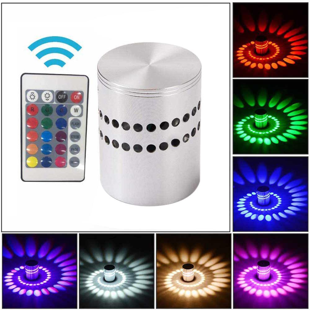 Alluminio RGB Spiral Hole LED Wall Light Control Remote Lighting Indoor per la decorazione della festa dell'hotel di casa