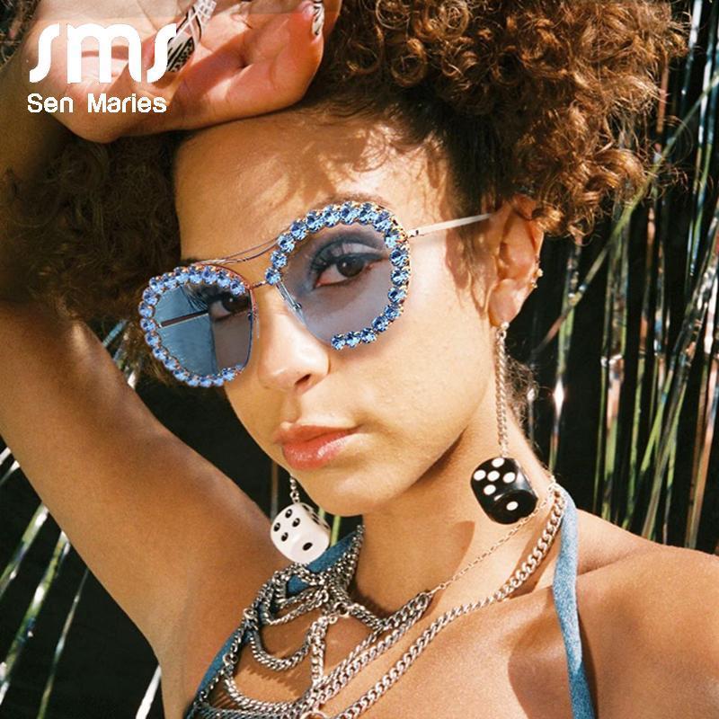 Gafas de sol de gran tamaño Vintage Metal 2020 SOL Gafas piloto UV400 Gafas de sol Redondo Lente claro Mujer Sun Sun Hombres Retro Gafas de Diamond EaWJR