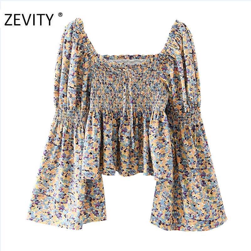 ZEVITY Yeni Kadın Vintage Sqaure Yaka Kelebek Kol Baskı Ince Smock Bluz Gömlek Kadınlar Elastik Femininas Blusas Tops LS7211