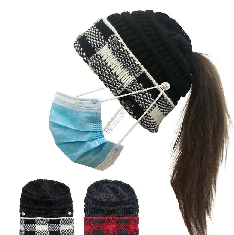 Women Winter Warm Knit Ponytail Hats Beanies Plaid Cuff Patchwork Crochet Hat with Face Mask Button Designers Knitted Skull Caps D102710