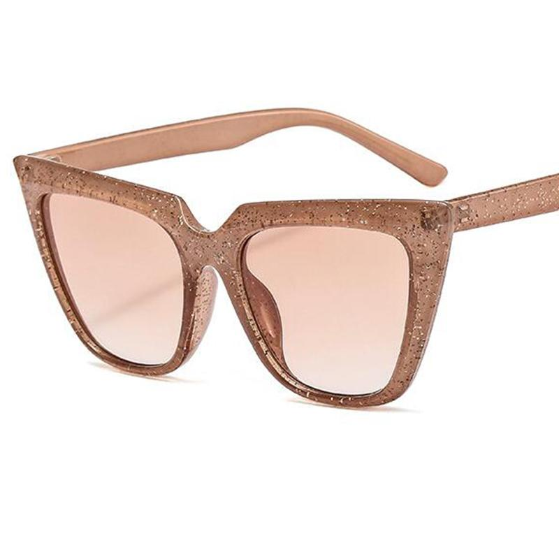2020 azul Brown de Moda de Nova Cat Oversized Eye óculos de sol Mulheres Homens Vintage Sun vidros coloridos Glitter Shades Óculos UV400