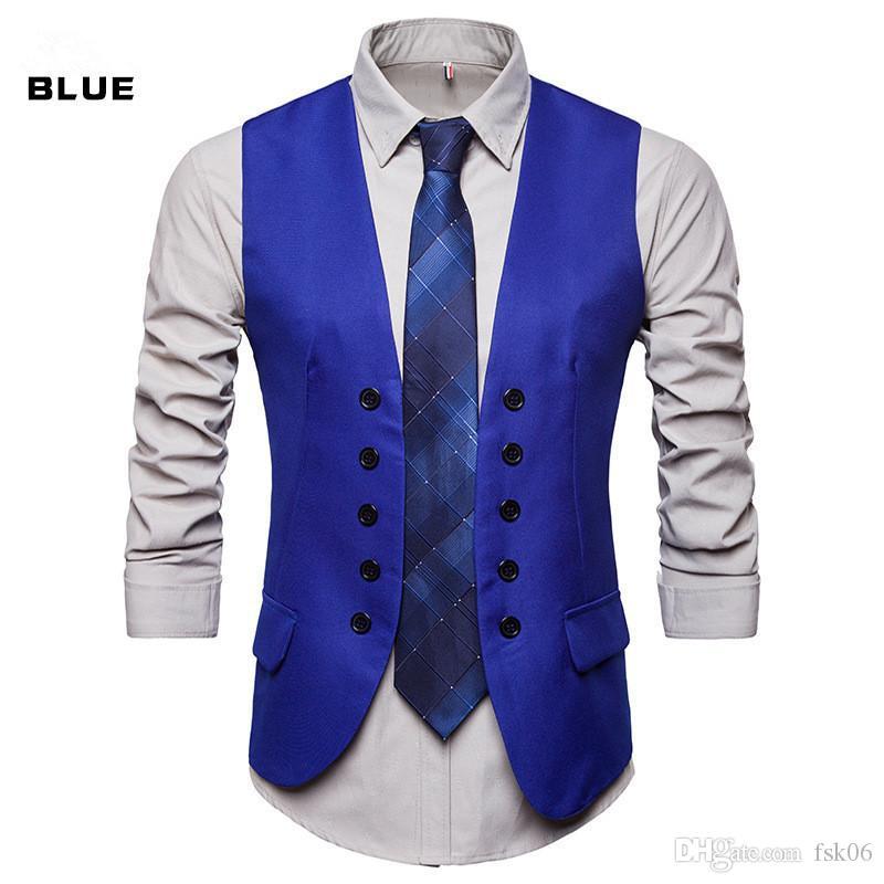 Il vestito degli uomini panciotto sposo matrimonio uomo migliore abito formale panciotto business casual doppia hombre chaleco petto maschile