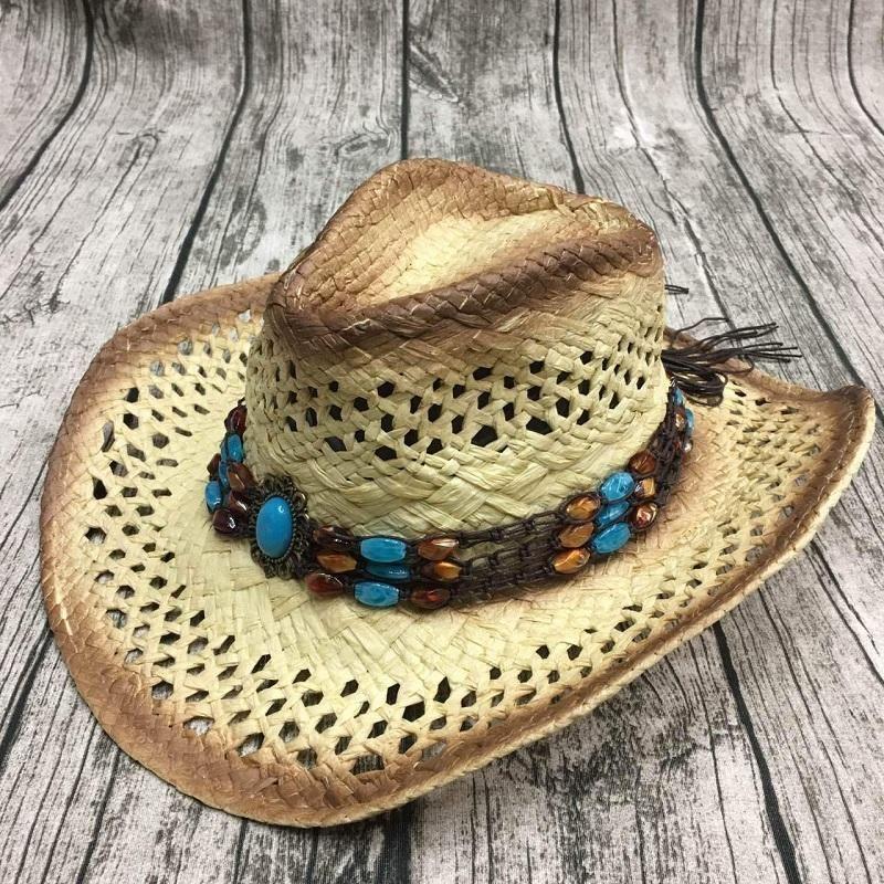 여름 남성에 대한 handmake 라피아 중공 카우보이 모자와 함께 펑크 로프 여성 서양 와이드 컬링 모자 챙 모자 일 보호 남여 모자