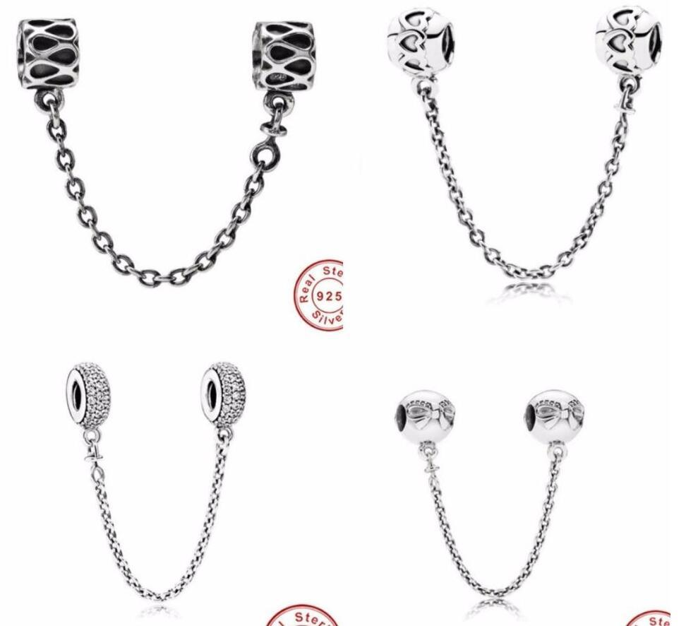 Fine jewelry Authentic 925 Sterling Silver Bead Fit Pandora Charm Pave Inspiration Crystal Safety Chain Beads beads