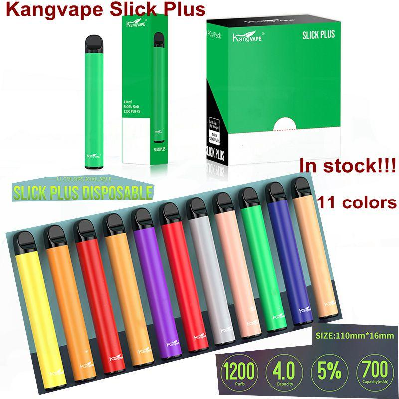 100% Authentic Kangvape Slick Plus Disposable Device Kit 700mAh Battery 4.0ml Cartridge 1200puffs Empty Vape Pen 11 Colors In Stock