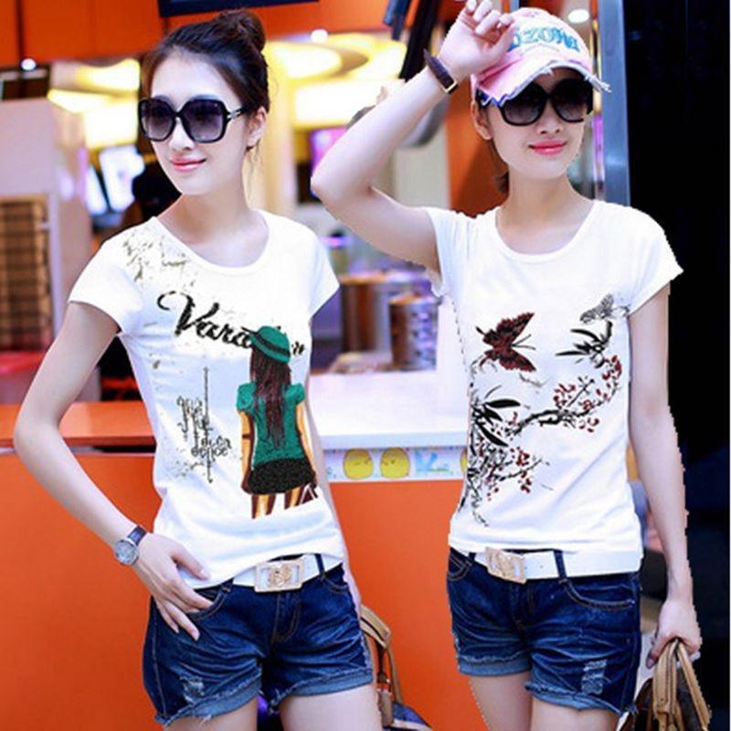 yz9bW été demi-manches TstyleUnderpants de base du cou lâche étudiant T-coréen rond polyvalent chemise à manches courtes chemise EcNGY EcNG de shirtwomen